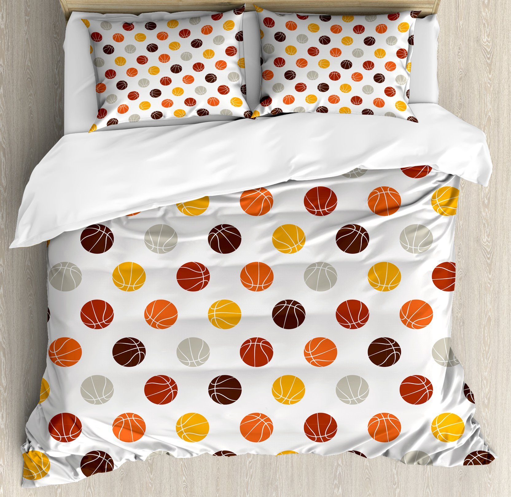 Basketball Duvet Cover Set Queen Size by Ambesonne, Ball Pattern in Earthen Tones Competition Sports Professional League Game Player, Decorative 3 Piece Bedding Set with 2 Pillow Shams, Multicolor