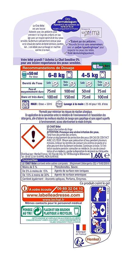 Le Chat Bebe lavandería líquido 1,60 L: Amazon.es: Salud y ...