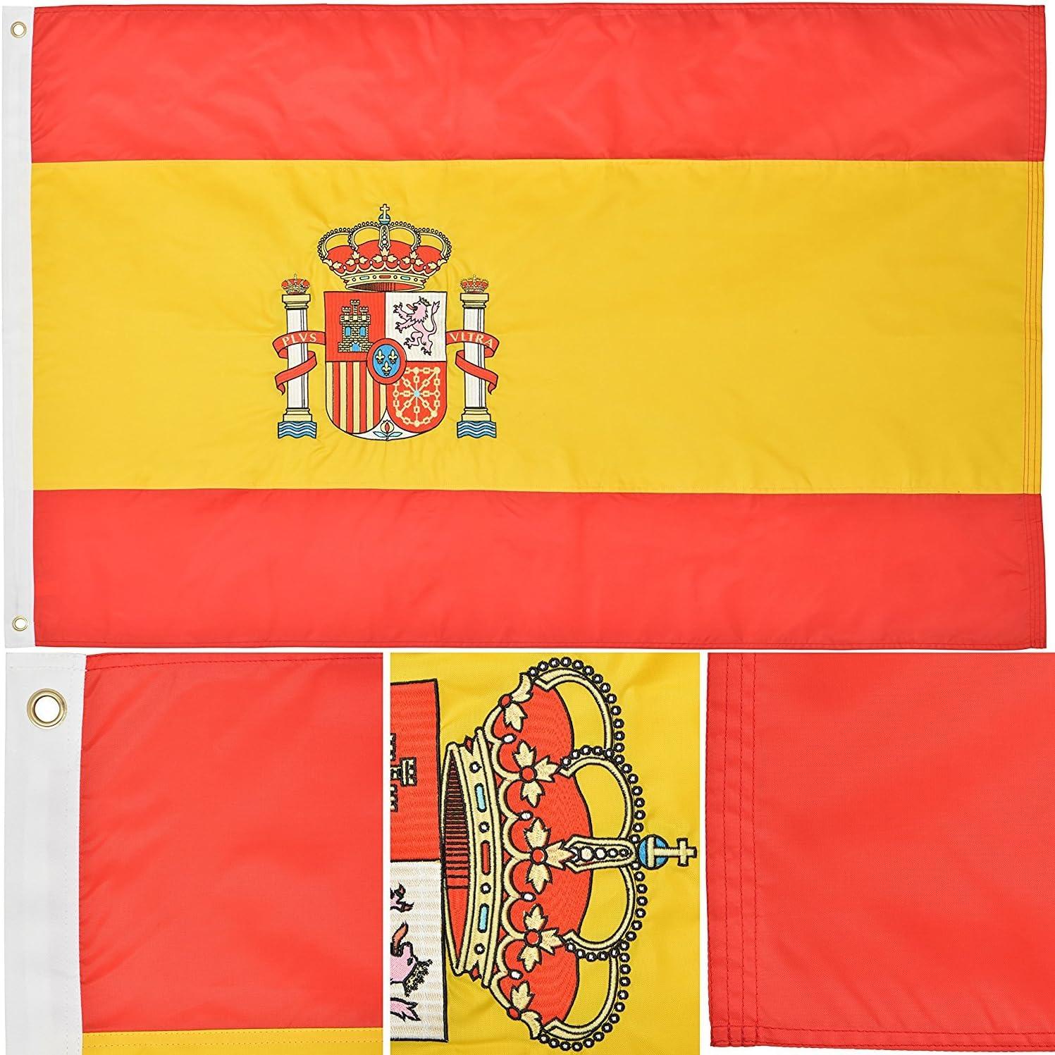 3 x 5 bordado España español país 220d de doble cara bandera de Nylon 3 x5 resistente a la decoloración doble cosido Premium banderín casa bandera ojales: Amazon.es: Jardín