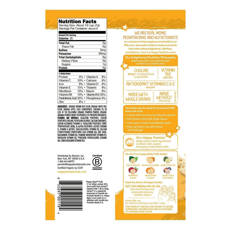Happy Baby Organic Puffs 2.1 Oz Mixed 3 Pack (1 Strawberry, 1 Bananna, 1 Sweet Potato) by HAPPYBABY
