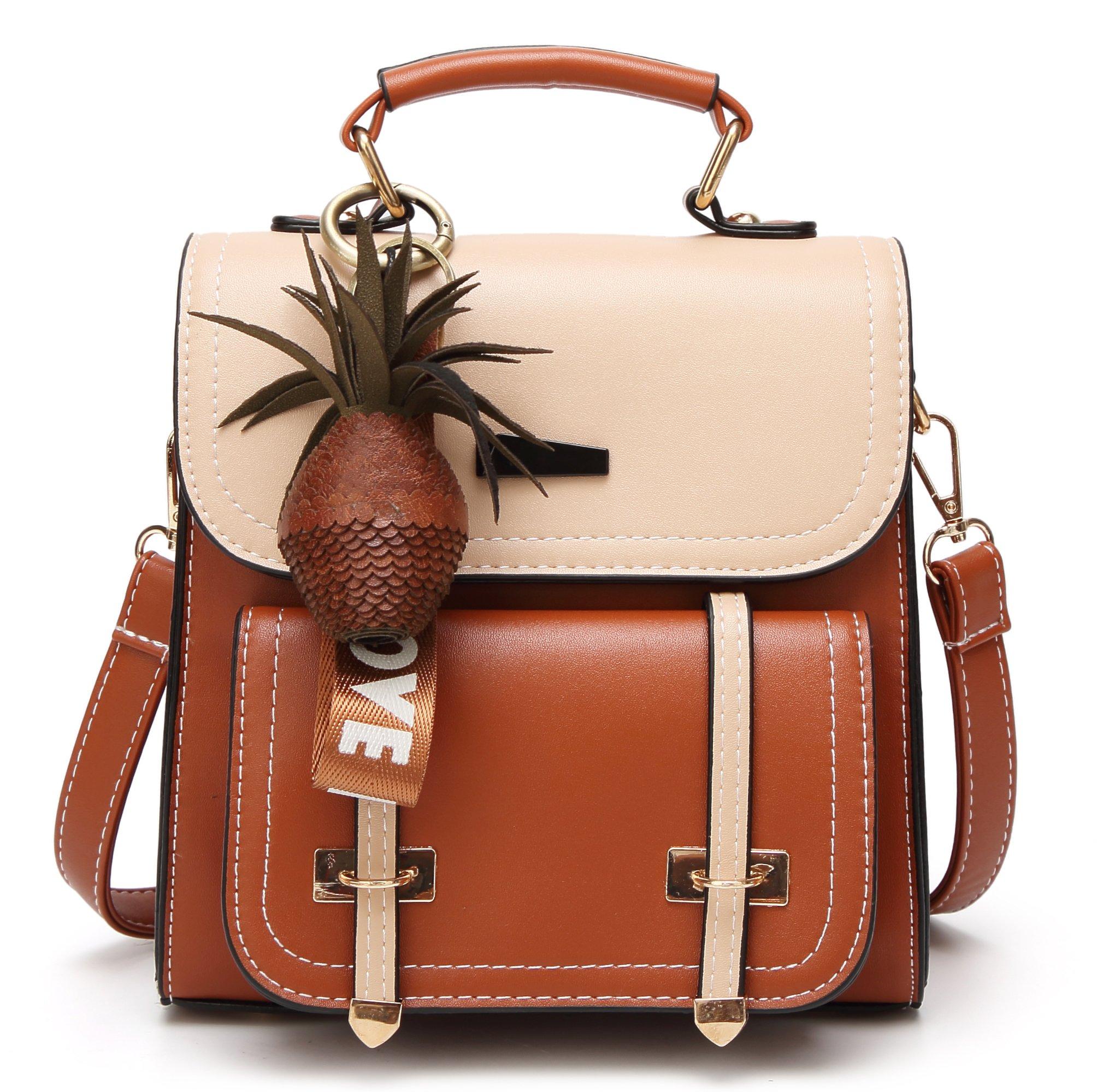 Small Backpack Purse Women Satchels Handbag Fashion Travel Bag (Brown-khaki)