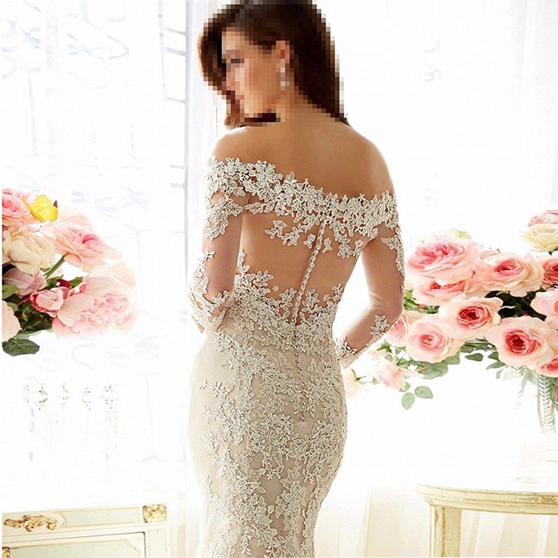 Lindabridal mermaid Wedding Dress for Bride New 3//4 Sleeve Mermaid Wedding Gowns Ivory, 10