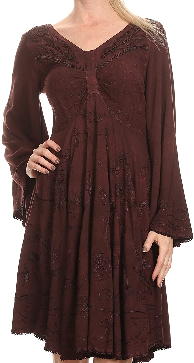 Sakkas Addyson Drop Neck Long Sleeve Embroidered Boho Dress 5055861852621