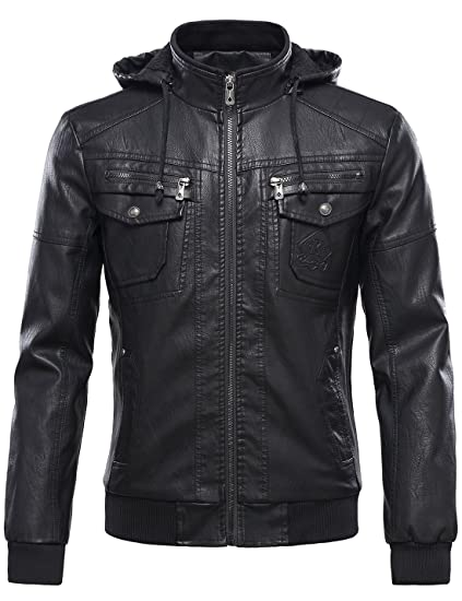 Review Tanming Men's Pu Leather Jacket with Removable Fur Hood