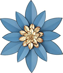 H HOMEBROAD. Metal Flowers Wall Decor Garden Wall Art Hanging for Patio Porch Bedroom Bathroom Living Room, Blue 12""
