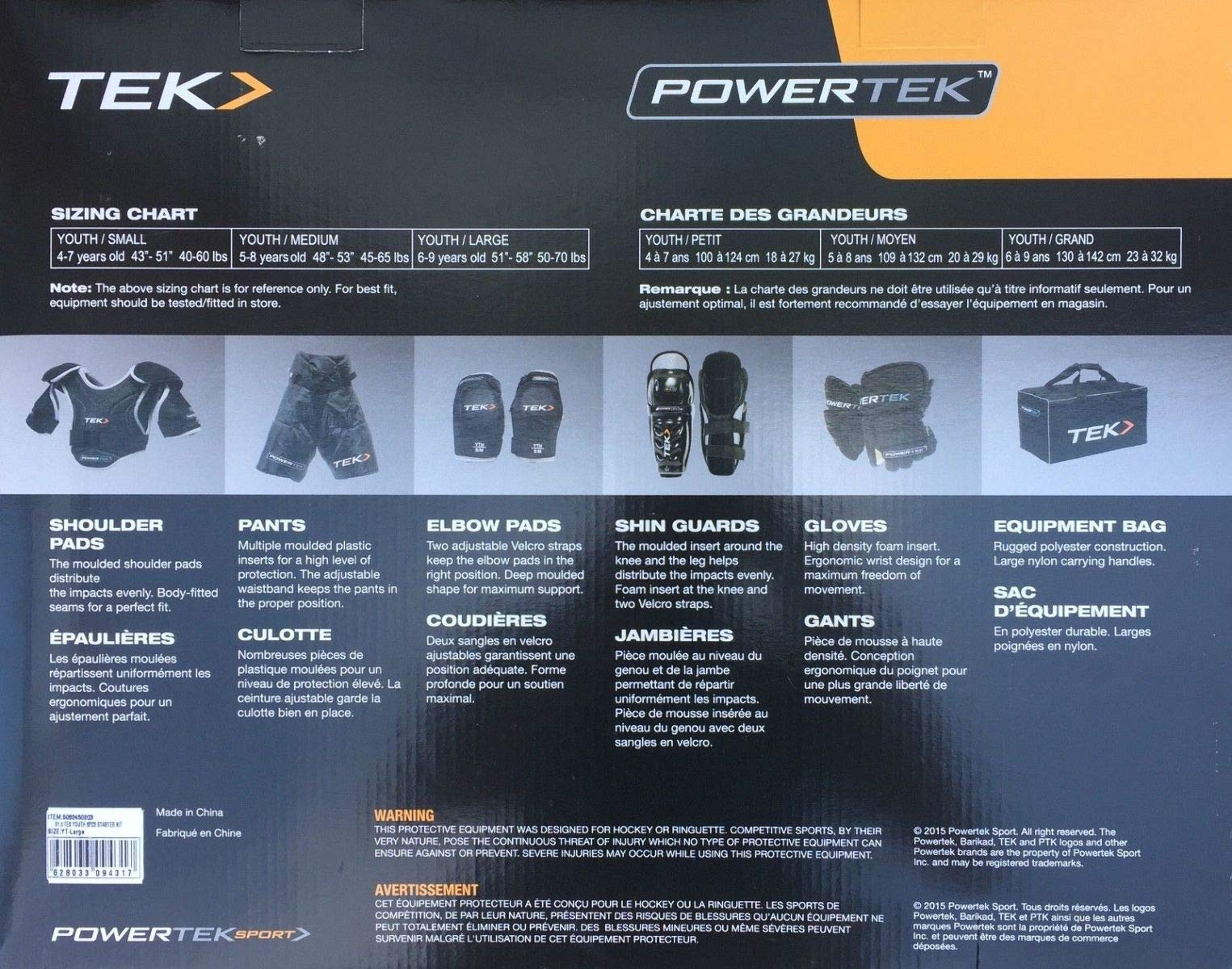 PowerTek V3.0 6-Piece Youth Ice Hockey Equipment Pads, Starter Set Kit (Medium)