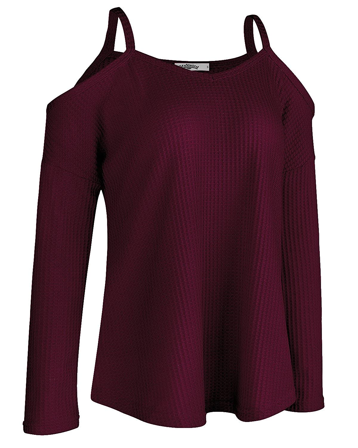 STYLEWORD Womens Off Shoulder Loose Casual Knitted Sweater Top Blouse