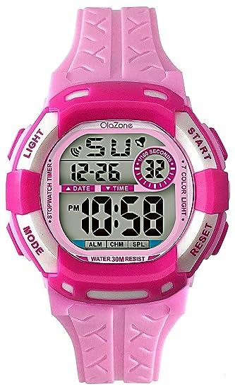 Reloj Digital para niñas 7-color luz intermitente resistente al agua 100 m reloj de