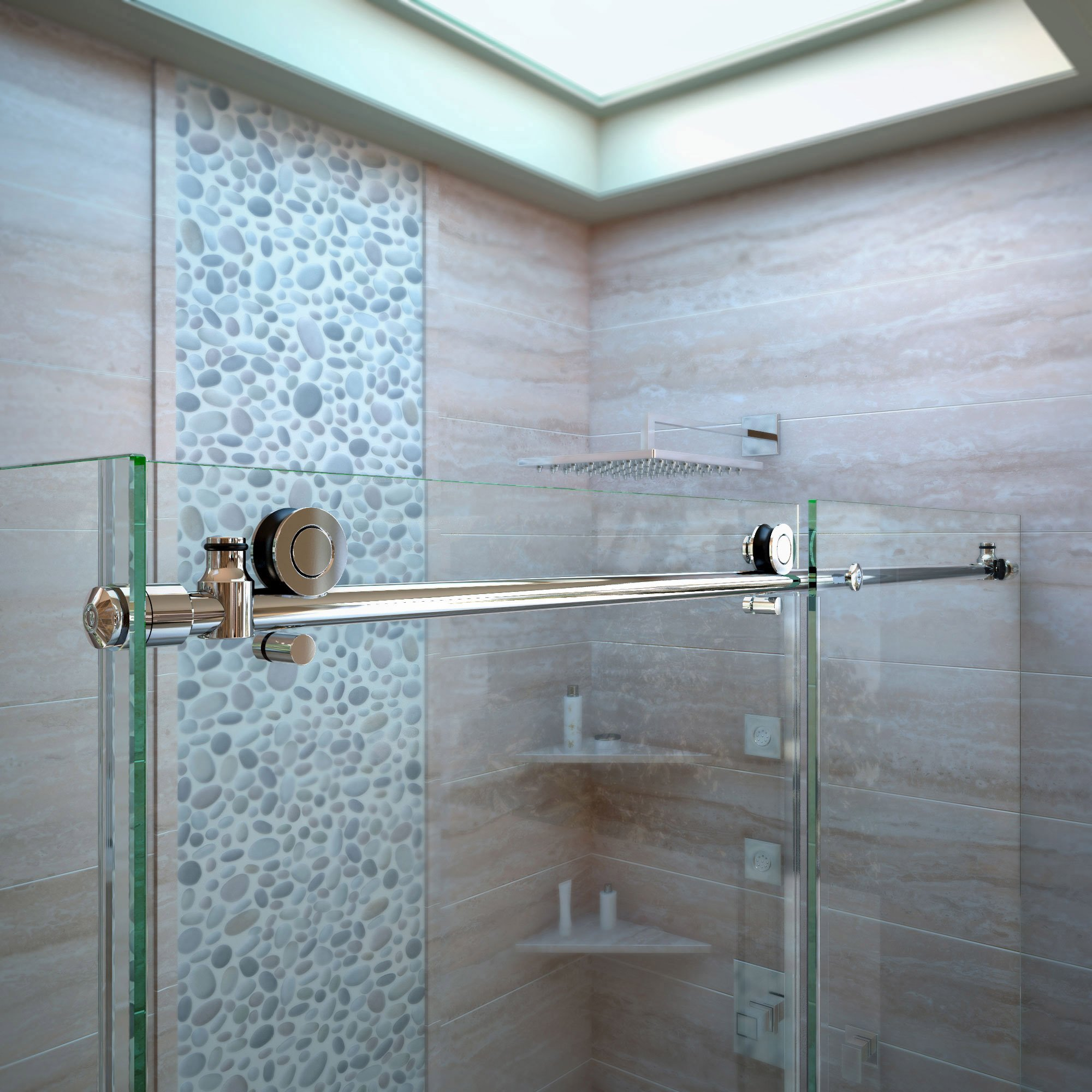 DreamLine Enigma-X 55-59 in. W x 62 in. H Fully Frameless Sliding Tub Door in Polished Stainless Steel, SHDR-61606210-08 by DreamLine (Image #8)
