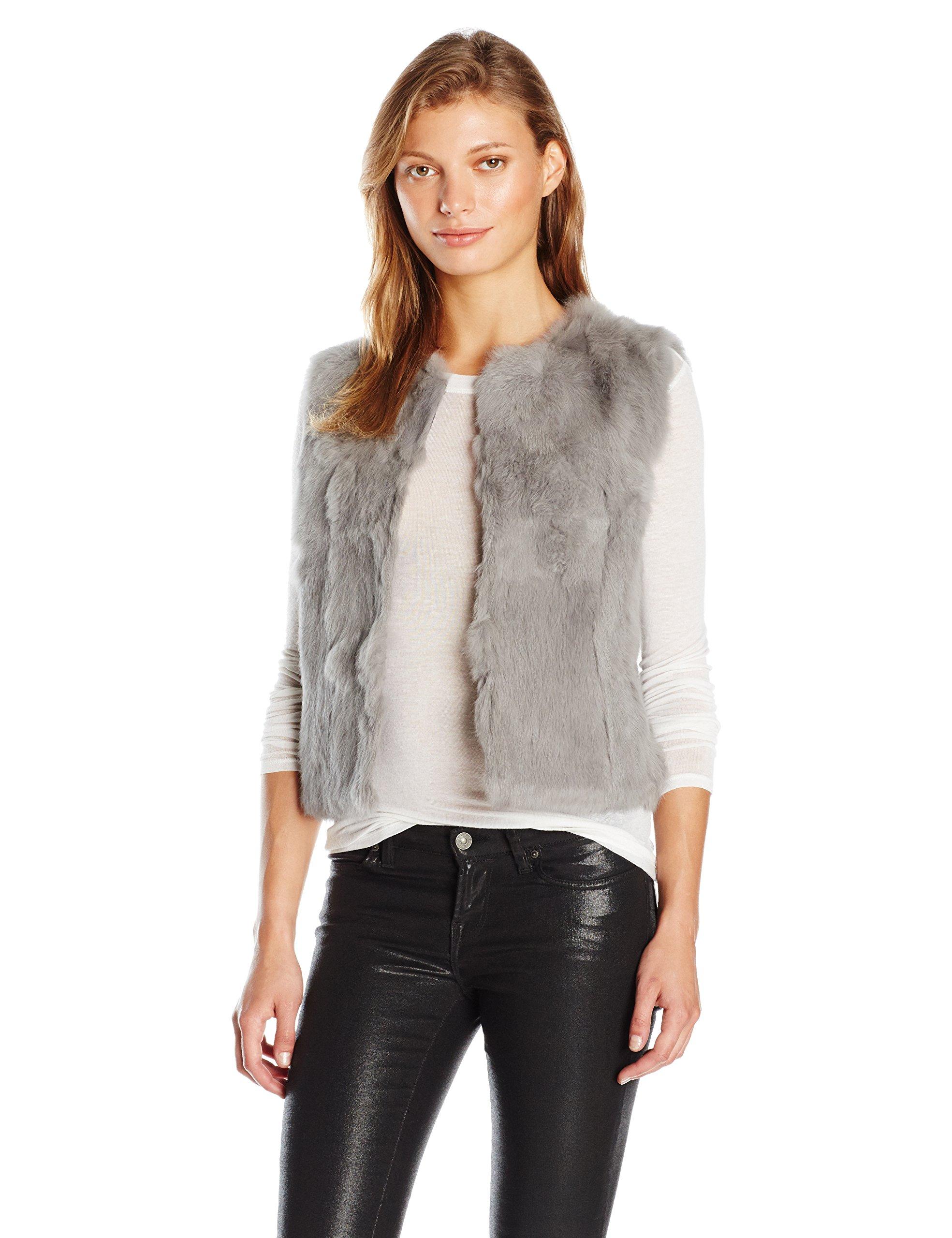 La Fiorentina Women's Plush Fur Vest, Grey, Small/Medium by La Fiorentina