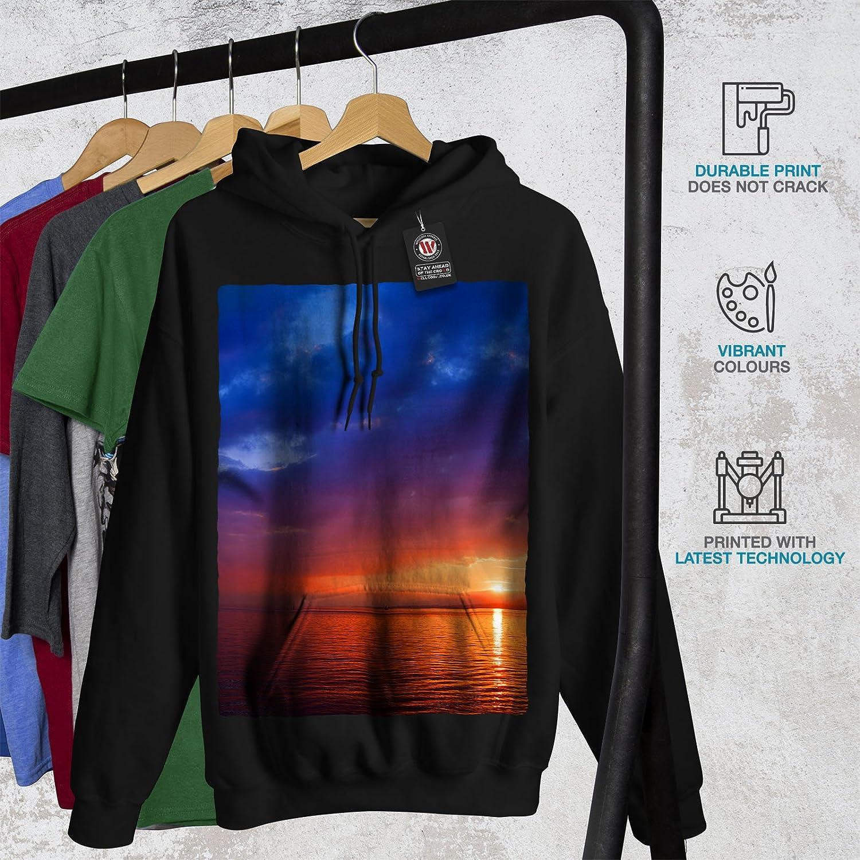 River Hooded Sweatshirt wellcoda Sea Sunset Night Nature Womens Hoodie