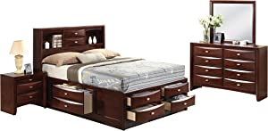 Acme Furniture Ireland Full Bed 4-Piece Bedroom Set with Storage, Espresso