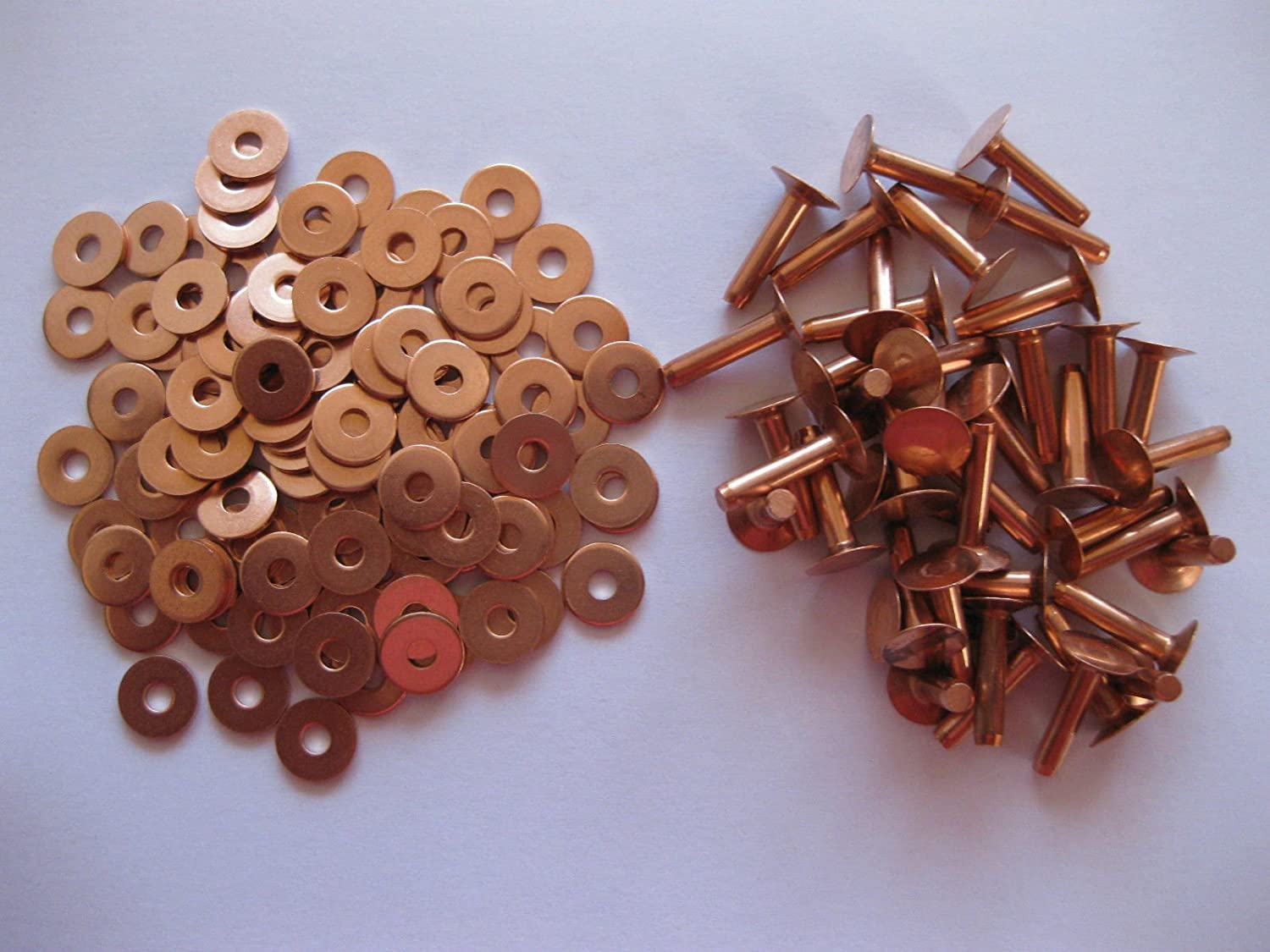 Copper hose saddlers rivets 10 Gauge x 3/4 with washers leather belt bag crafts, number in pack 100