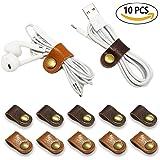 FIBOUND 牛革イヤホンコード巻取り,充電ケーブルホルダー,コードクリップ 本革コードクリップ(10個セット)