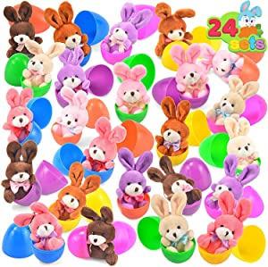 "24 PCs Plush Bunny Filled Easter Eggs, 3.2"" Bright Colorful Easter Eggs Prefilled with Variety 4.5"" Plush Bunnies"
