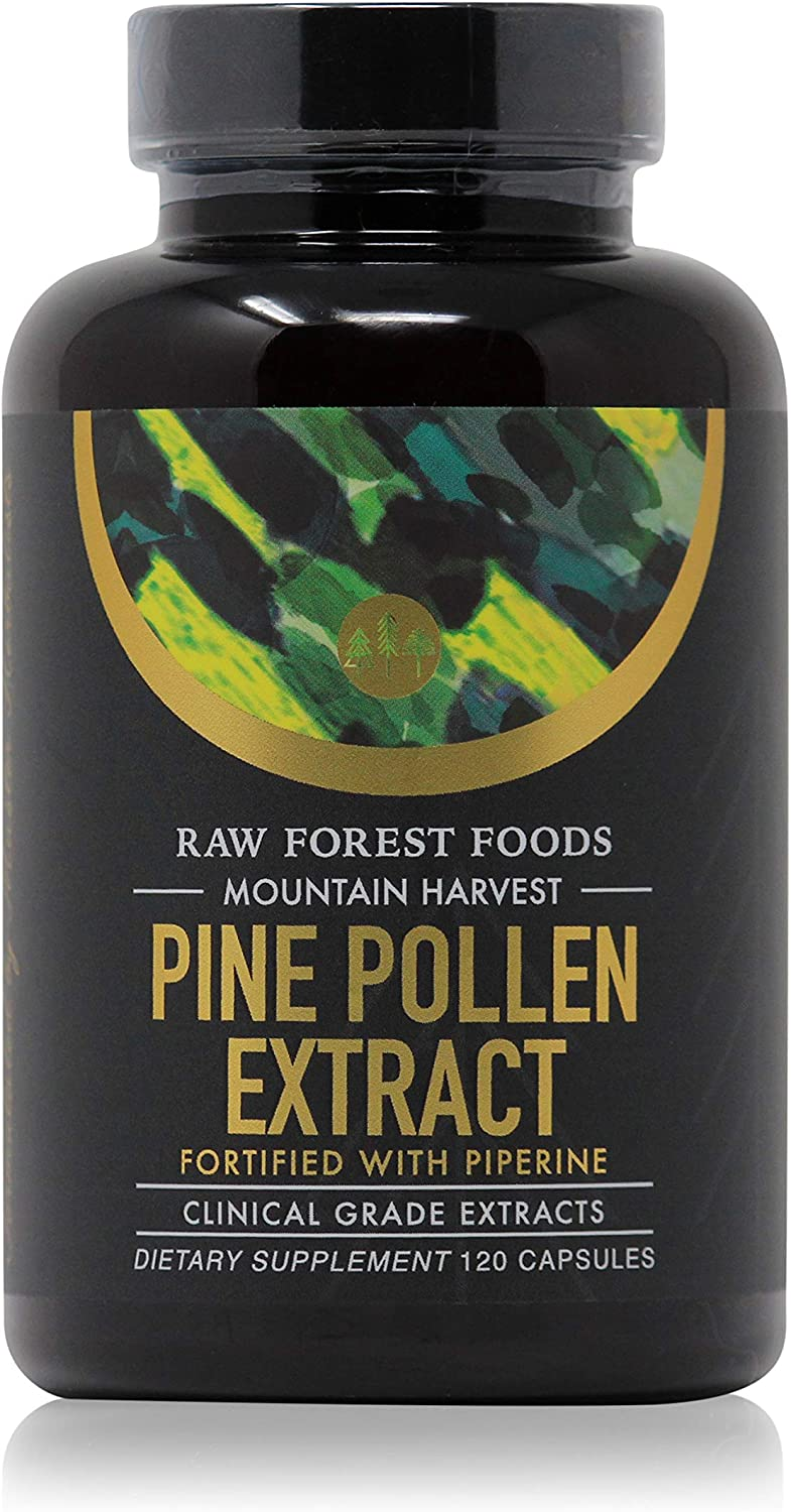 RAW Forrest Foods Mountain Harvest Pine Pollen Capsules Clinical Strength Potent 10 1 Pine Pollen Extract Fortified with Piperine Extract for Maximum Absorption 120 Capsules