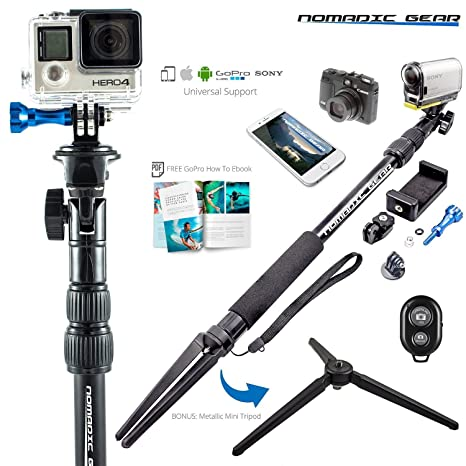 buy popular 27ee1 8b74a Nomadic Gear Waterproof Selfie Stick and Tripod: Professional Quality,  Universal Support for GoPro, Sony Action Camera, Garmin, Ricoh Action Cam,  ...