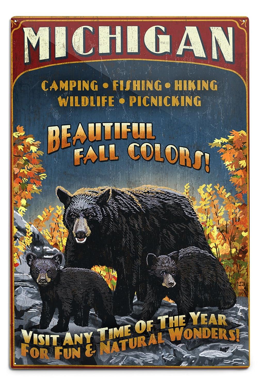【正規通販】 Michigan - Black Bears and Fall Colors Vintage Sign (9x12 Art Print, Wall Decor Travel Poster) by Lantern Press B06XZZB3LJ  12 x 18 Metal Sign 12 x 18 Metal Sign, テクネットストア dfb90e36
