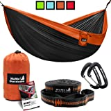 Lightweight Double Camping Hammock - Adjustable Tree Straps & Ultralight Carabiners Included - Two Person Best Portable…
