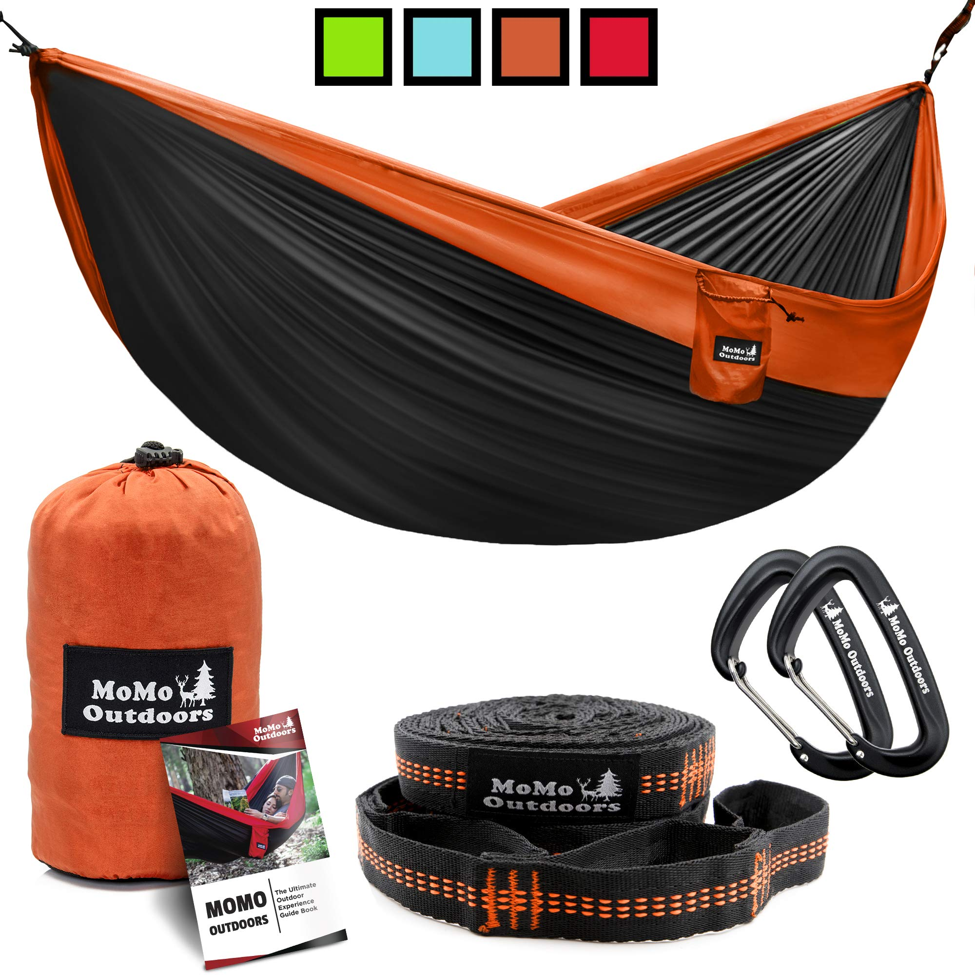 Lightweight Double Camping Hammock - Adjustable Tree Straps & Ultralight Carabiners Included - Two Person Best Portable Parachute Nylon Hammocks for Hiking, Backpacking, Travel & Backyard - Easy Setup by MoMo Outdoors