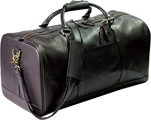 Polare 22 Soft Real Leather Weekender Travel Overnight Luggage Duffel Bag