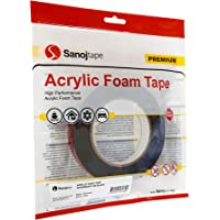 Sanojtape Superbond Acryl Schuimtape Zwart 12 mm x 5 m | Heavy Duty Montage Tape | Permanent Klevend voor Moeilijke…