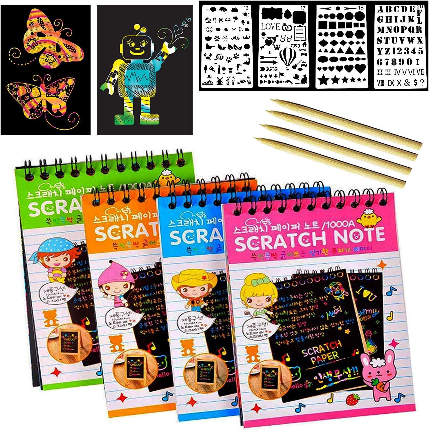 YFOX Dibujos de Arte Raspar Papel de Nota 40 Papel de rascar Arcoiris, Adecuado para Manualidades Infantiles para Hacer Pinturas y Graffiti: Amazon.es: Juguetes y juegos