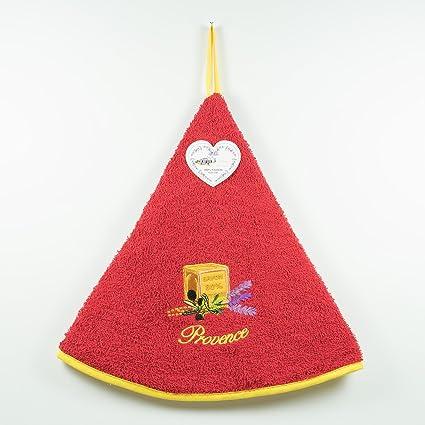 Seca manos de esponja redondo–100% algodón rojo