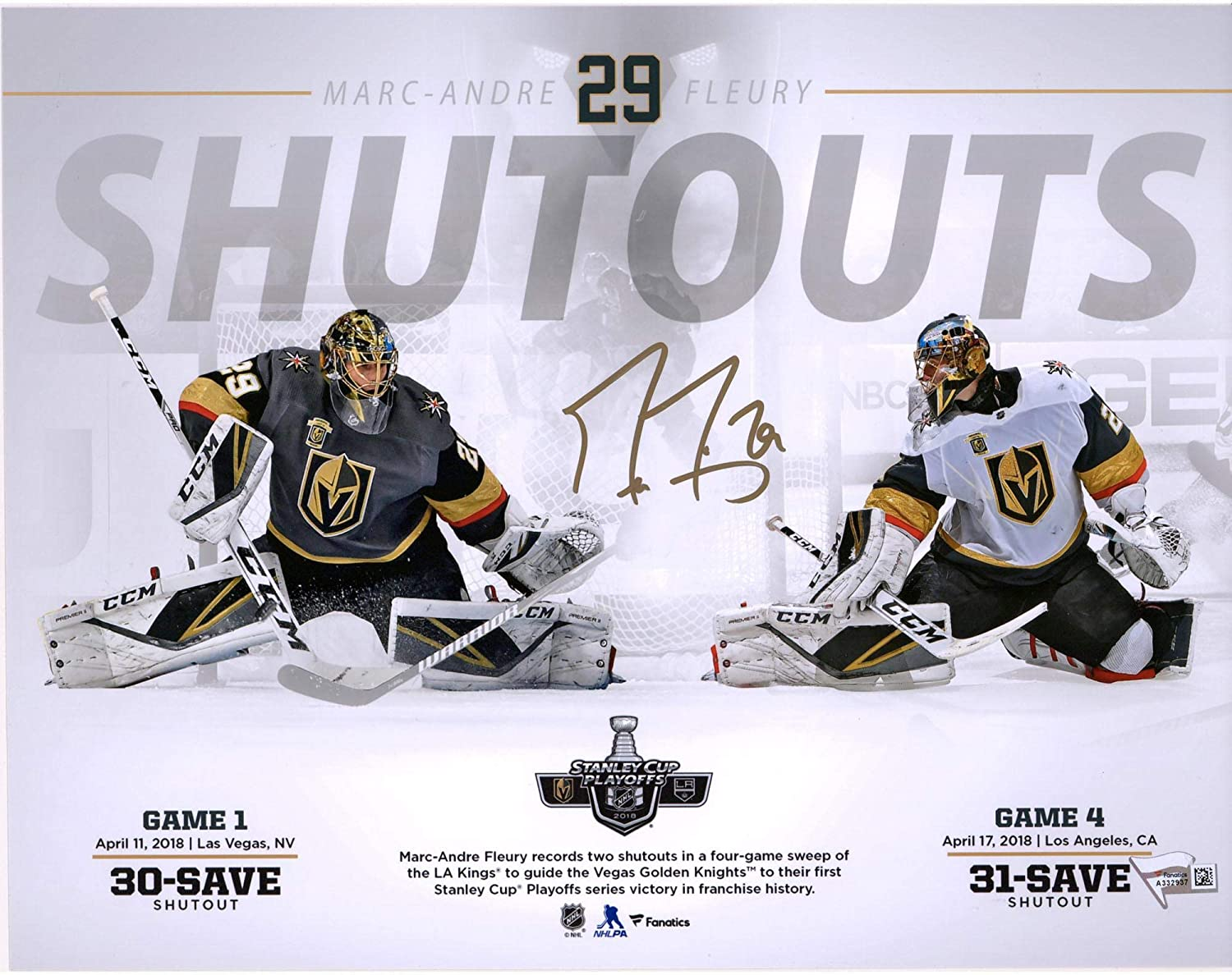 Marc-Andre Fleury Vegas Golden Knights Autographed 11' x 14' Series Win Over LA Kings Photograph - Fanatics Authentic Certified