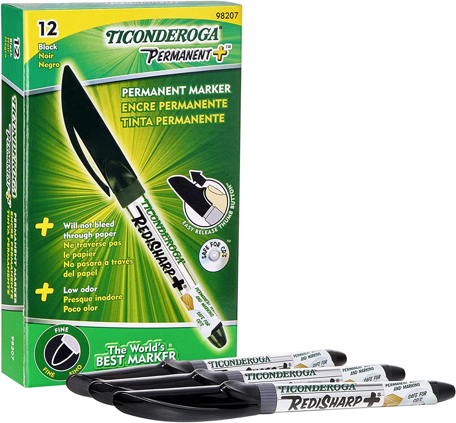 20x NON TOXIC PERMANENT MARKERS Black Ink Chisel Tip QUICK DRY Bold Line Pens
