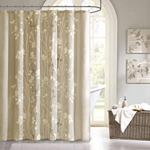 Madison Park MPE70-036 Essentials Vaughn Shower Curtain 72x72 Taupe