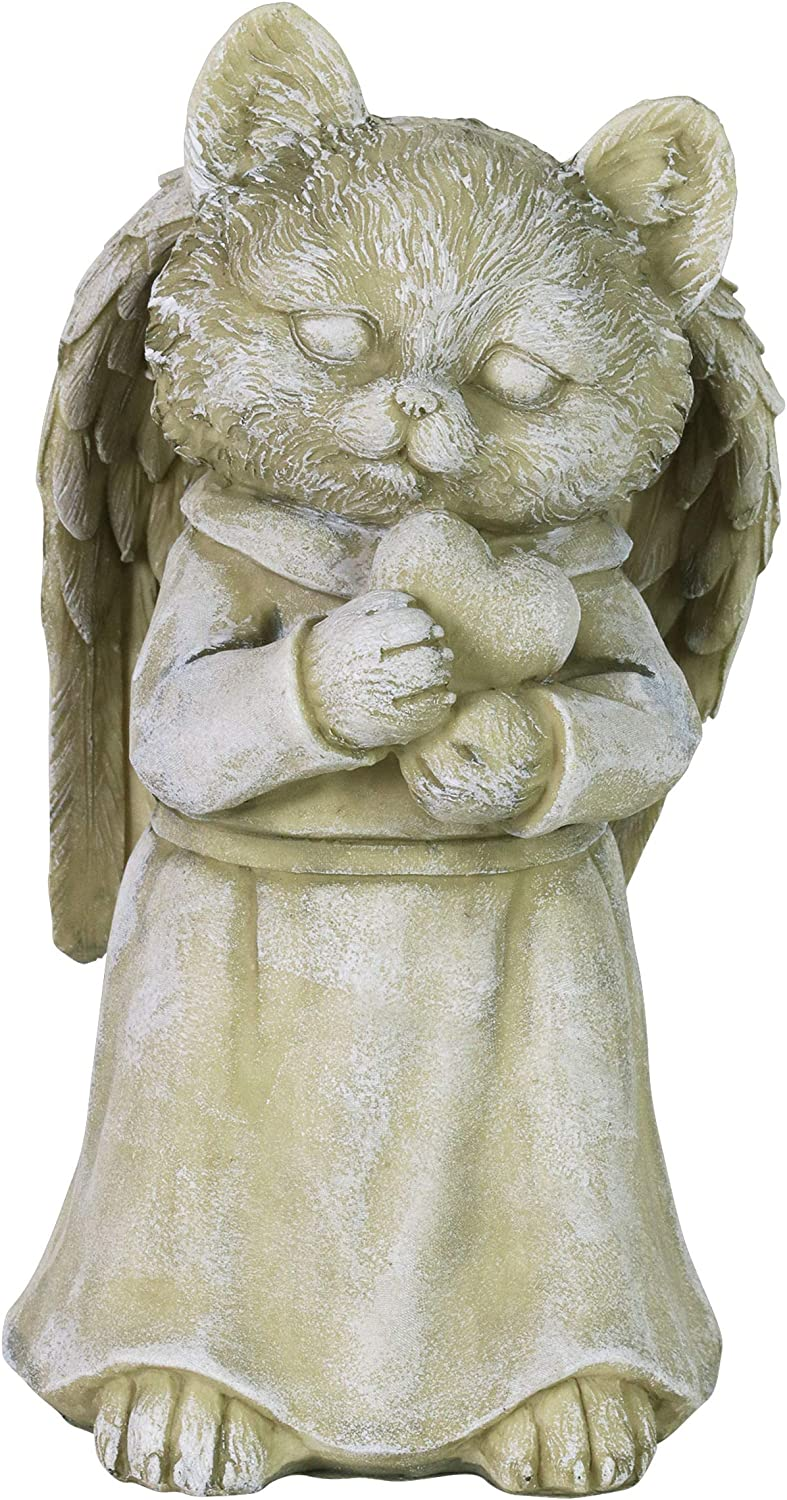 "Exhart Cat Angel Statue w/Heart – Cute, Rustic Angel Cat Garden Art Decoration for Lawn & Patio – UV-Treated & Weather-Resistant Resin Cat Sculpture Décor for Home & Garden,5.5""x5.5""x9.5"""