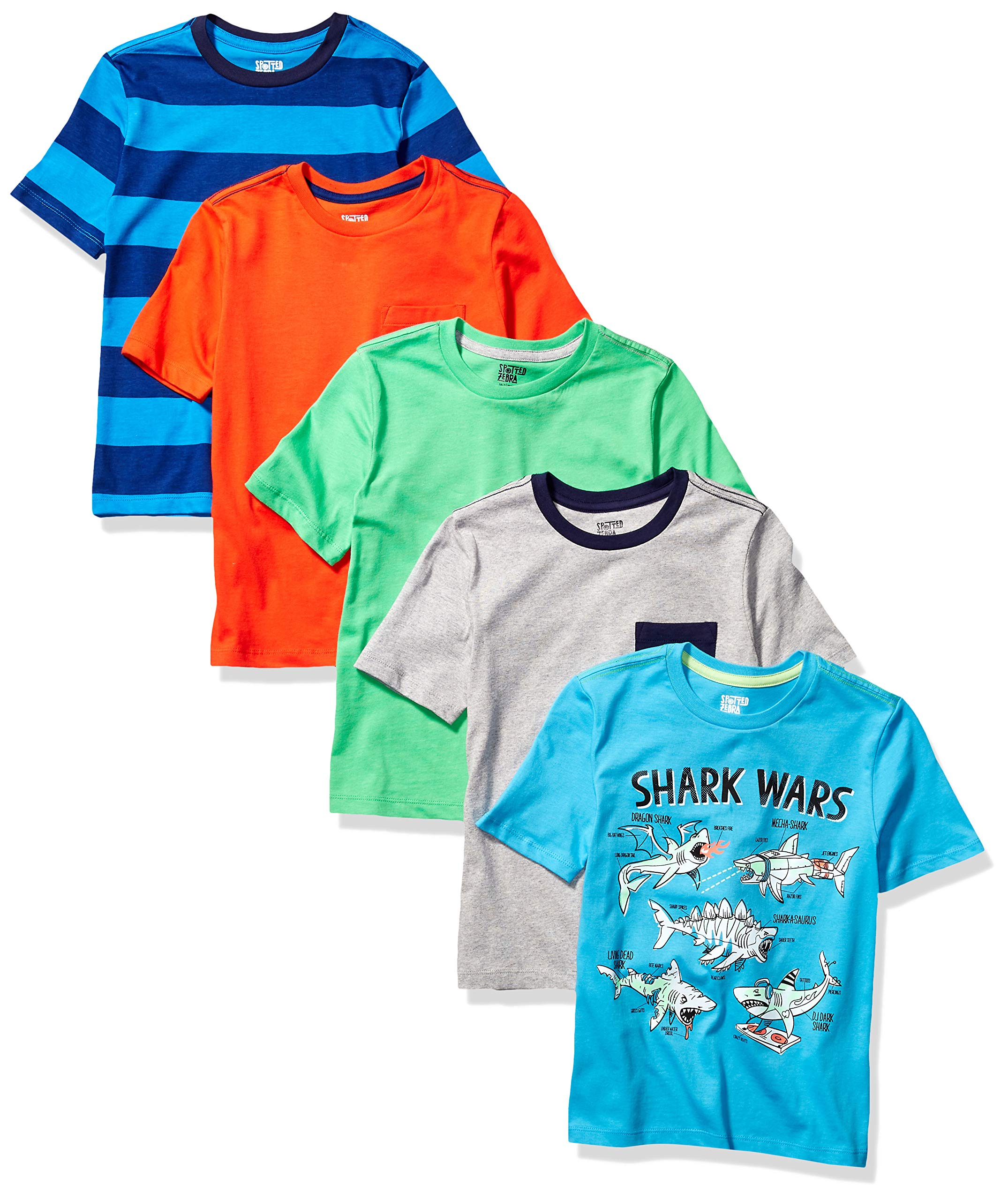 Amazon Brand - Spotted Zebra Boy's Kid 5-Pack Short-Sleeve T-Shirts, Shark Wars, XX-Large (14) by Spotted Zebra