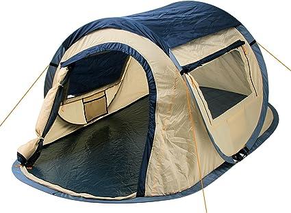 CampFeuer Wurfzelt Quiki I 2 Personen Quicktent I Campingzelt für Festival und mehr I wasserabweisend I Pop Up Zelt (BlauCreme)