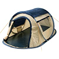 CampFeuer Wurfzelt Quiki I 2 Personen Quicktent I Campingzelt für Festival und mehr I wasserabweisend I Pop-Up Zelt (Blau/Creme)