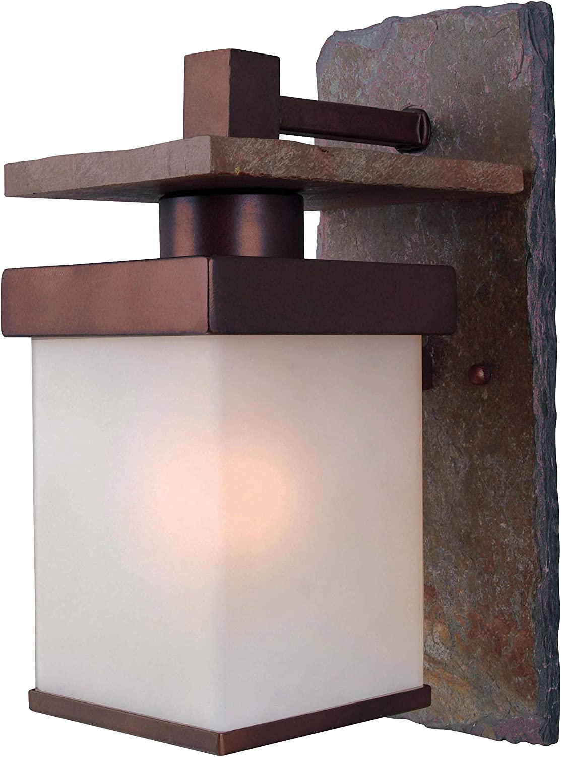 Kenroy Home 70281COP Rustic Boulder Outdoor Wall Light, 1 Small Lantern, Natural Slate with Copper Finish