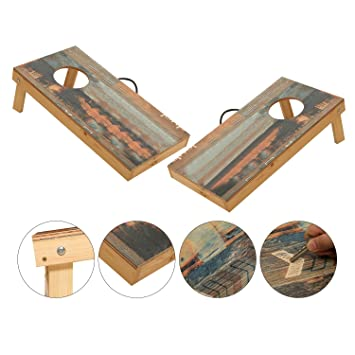 OOFIT Solid Wood Cornhole Set Junior Size, Portable Sports Cornhole Game  Boards Set 2 By
