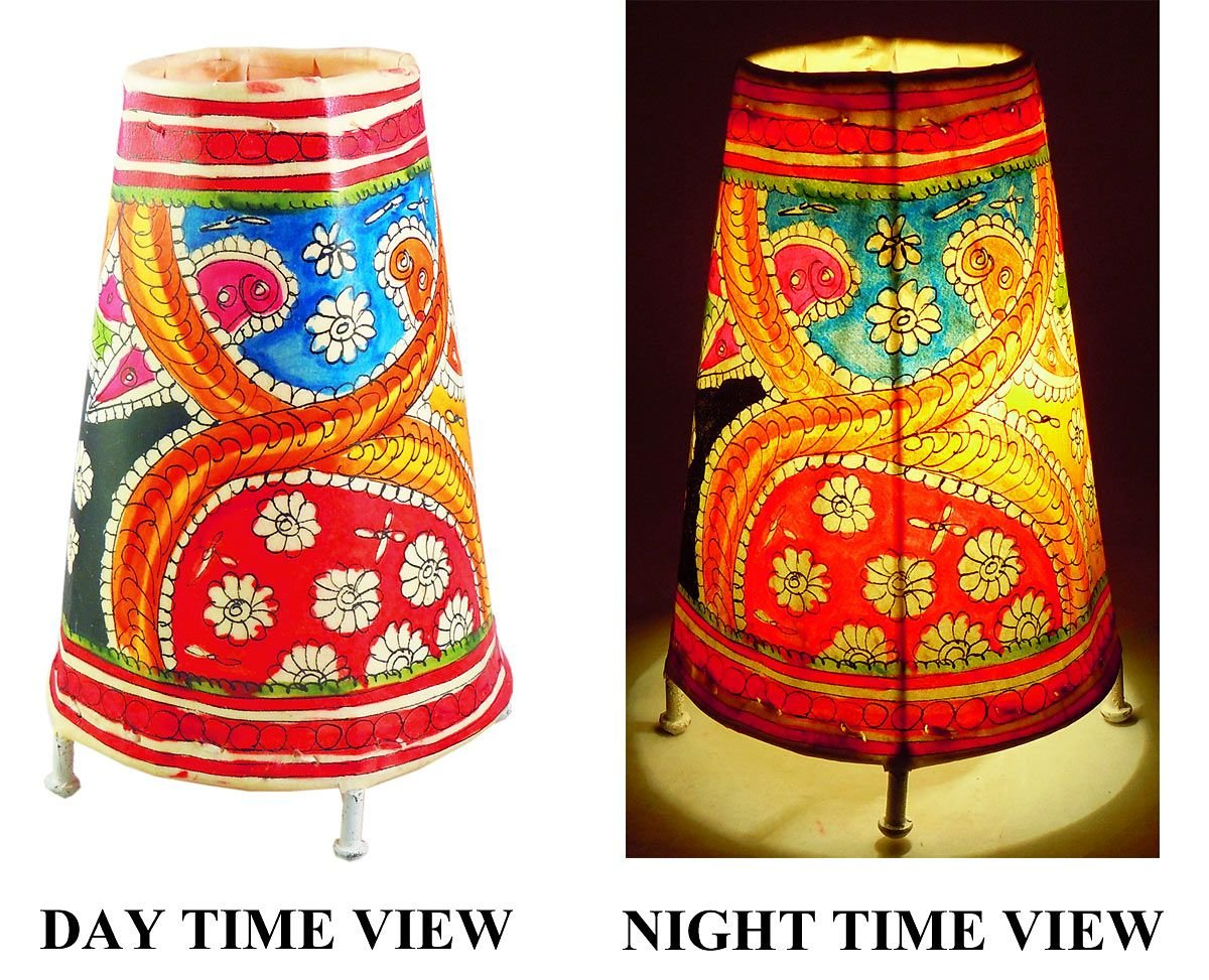 DollsofIndia Leather Perforated Stand Colorful Lamp Shade - Height - 9.5 inches (NF24)