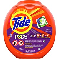 Tide PODS, Laundry Detergent Liquid Pacs, Spring Meadows, 72 Count - Packaging May Vary
