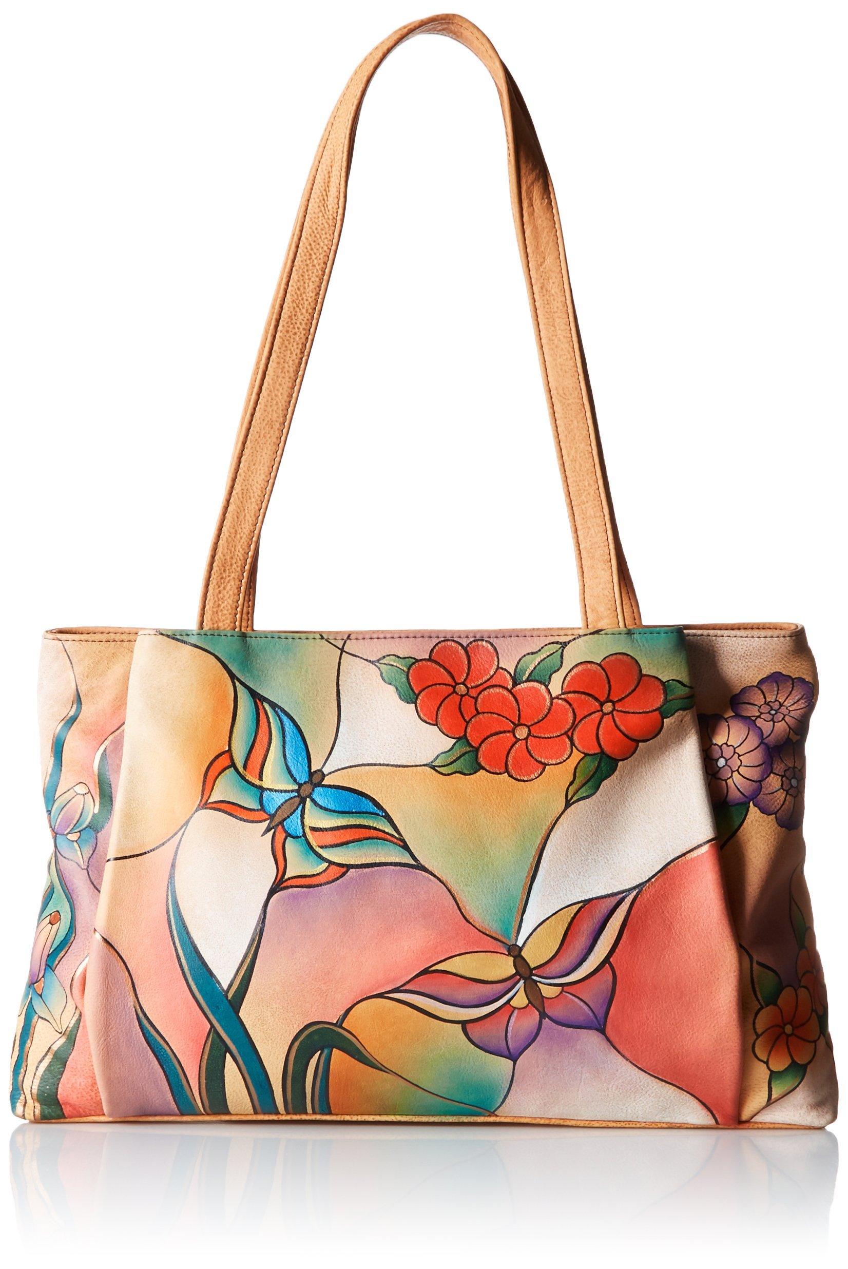 Anuschka Handpainted Leather BGP Large Shopper, Butterfly Glass Painting, One Size by Anna by Anuschka