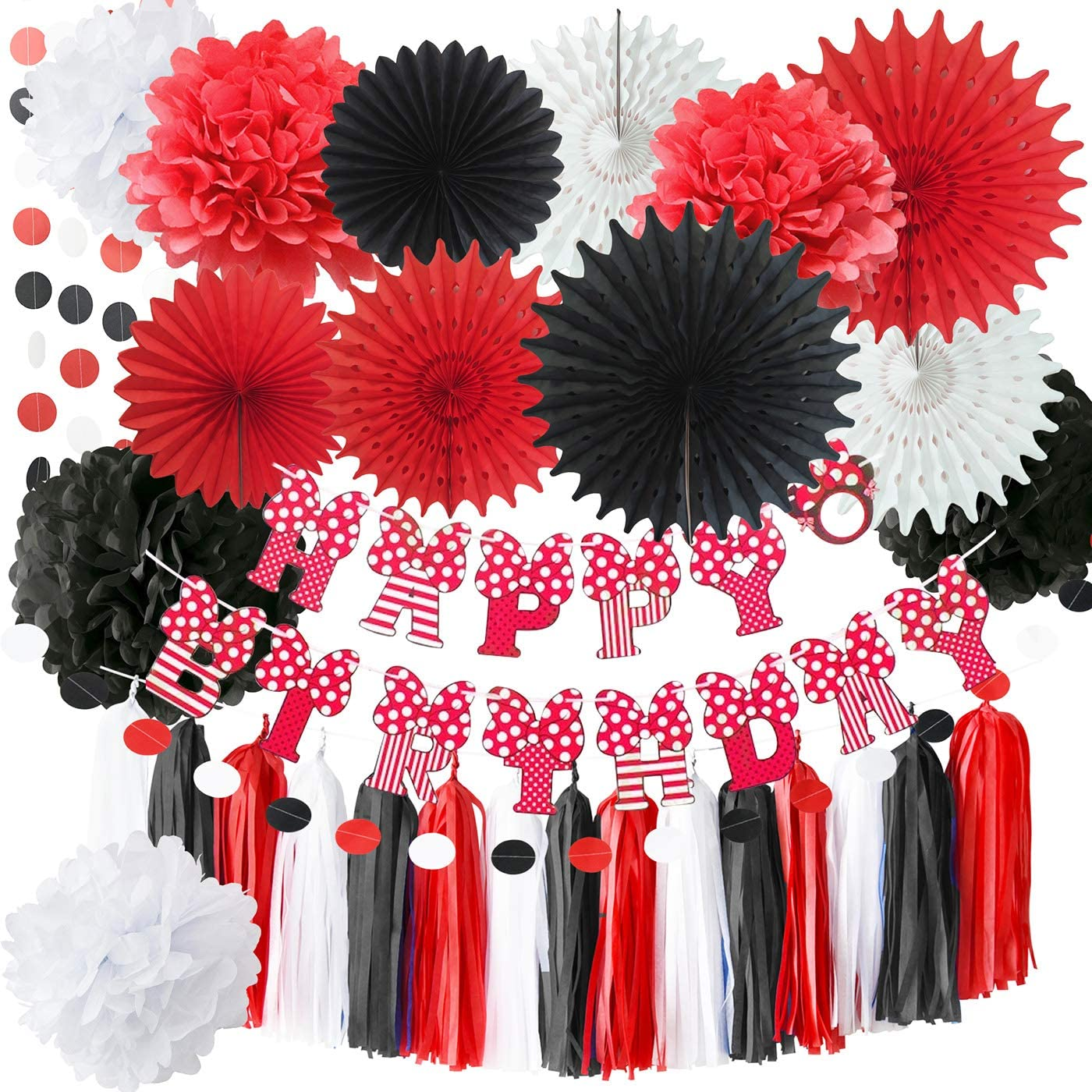 Mickey Mouse Party Supplies Red Black White Party Decorations 7pcs Tissue Paper Fans for Minnie Mouse Birthday Party Decorations Red Black Birthday Party Baby Shower Decortions Qian/'s Party