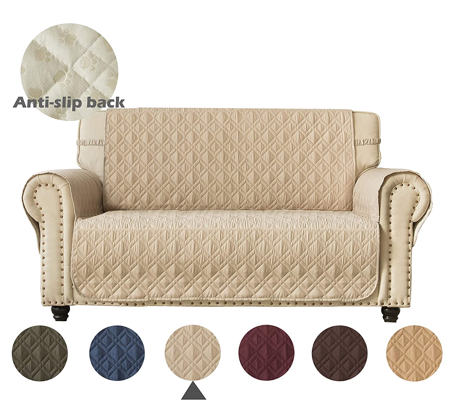 Ameritex Loveseat Cover Water-Resistant Quilted Furniture Protector with Back Nonslip Paws Slipcover for Dogs, Kids, Pets Loveseat Slipcover Stay in Place (Pattern1:Beige, Loveseat(Oversized))