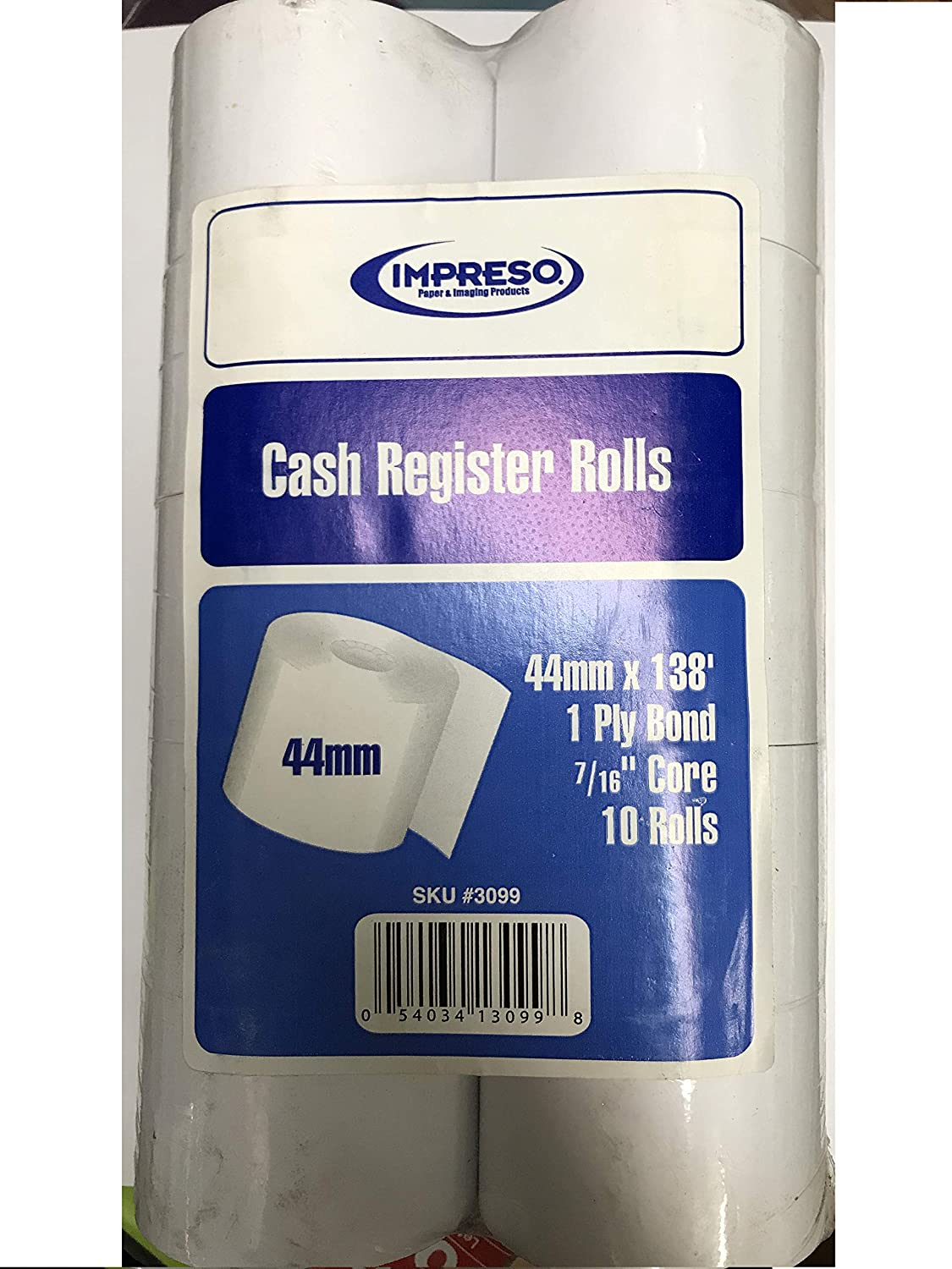 L 1 Ply 7//16 Core Sold in Units of 10 Rolls x 44 mm W Impreso Cash Register Rolls 138 Feet