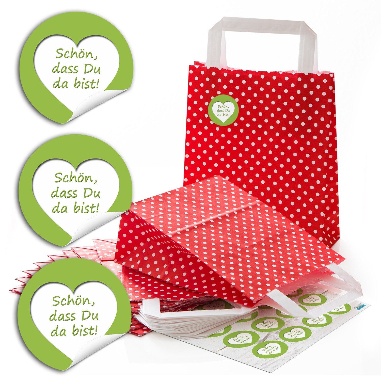 24Sacs de papier Sacs Sacs de Anse Rouge avec Pois Blancs et fond (18x 8x 22cm) petites poches Papier et 24ronds autocollants joli que tu es là dans vert de mai