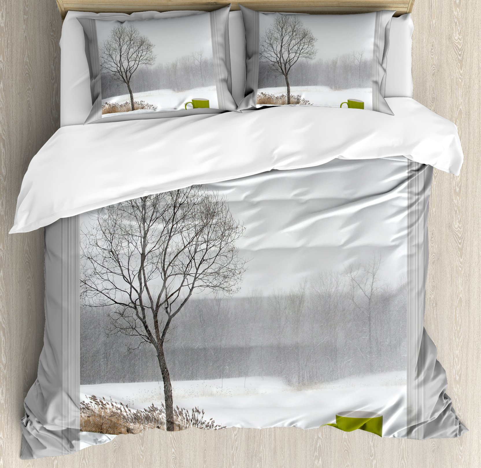 Winter Duvet Cover Set King Size by Ambesonne, Green Teacup on a Windowsill Forest Outdoors February Snowstorm Scenic Countryside, Decorative 3 Piece Bedding Set with 2 Pillow Shams,