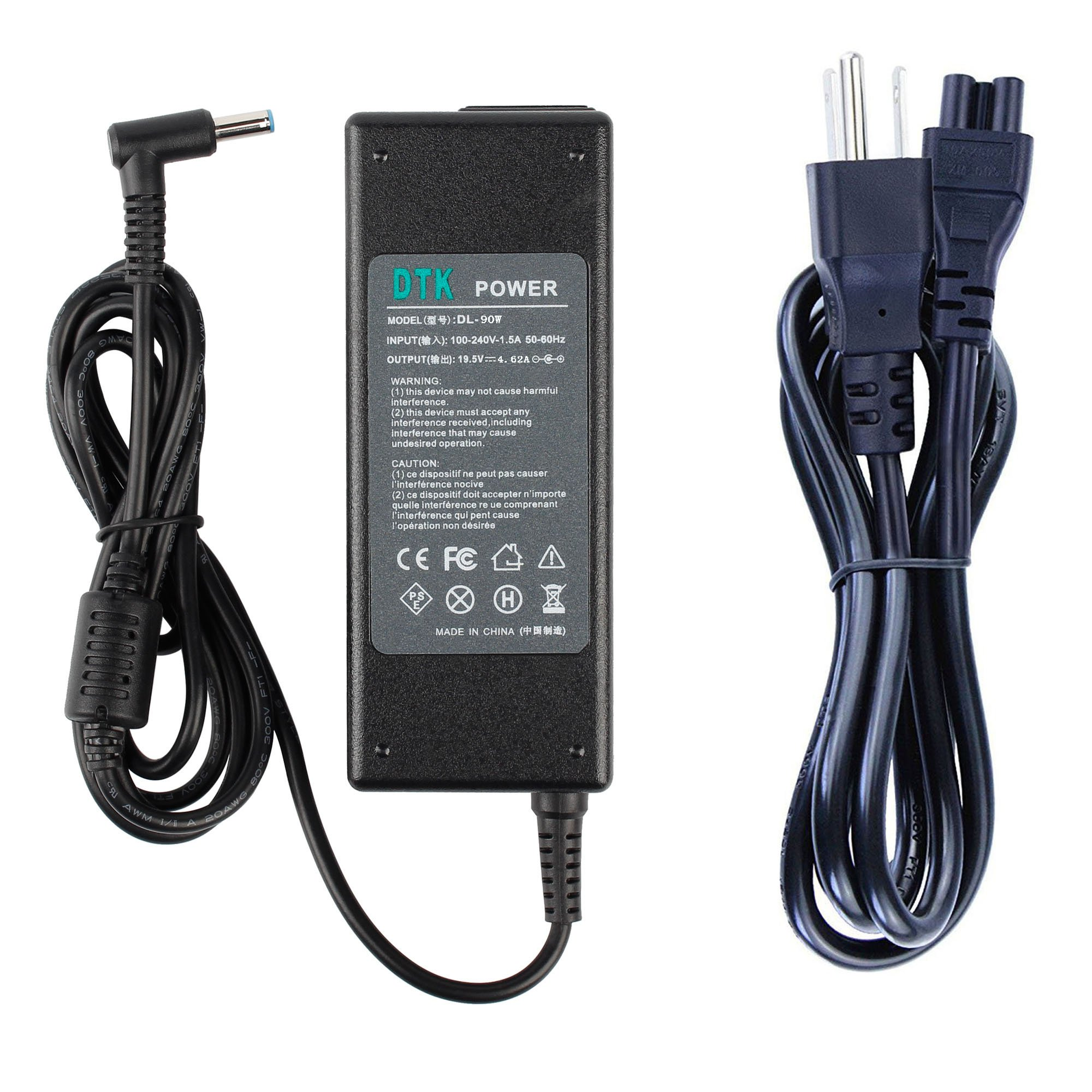 DTK Ac Adapter Laptop Computer Charger/Notebook PC Power Cord Supply Source Plug for HP 19.5V 4.62A 90W Connector Size: 4.5X3.0mm with pin Inside