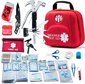 First Aid Kit for Car Travel Camping Home Office Sports Survival Complete Emergency Bag Fully stocked with high Quality Medical Supplies (RED2.0)