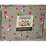 4pc Berkshire Peanuts QUEEN Sheet Set Snoopy Woodstock Love Pink Hearts Gray