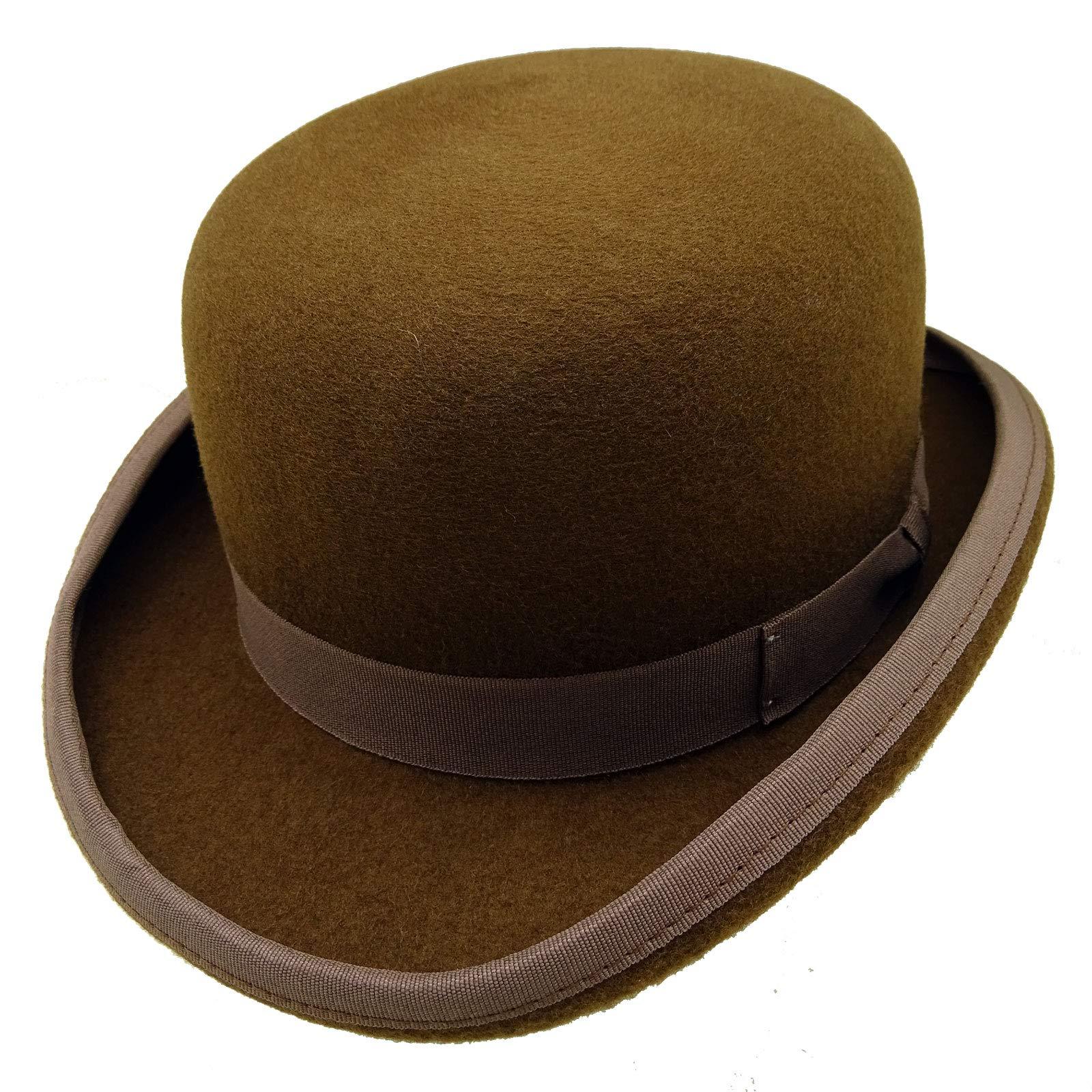 HATsanity Unisex Vintage Wool Felt Formal Dura Bowler Hat Brown