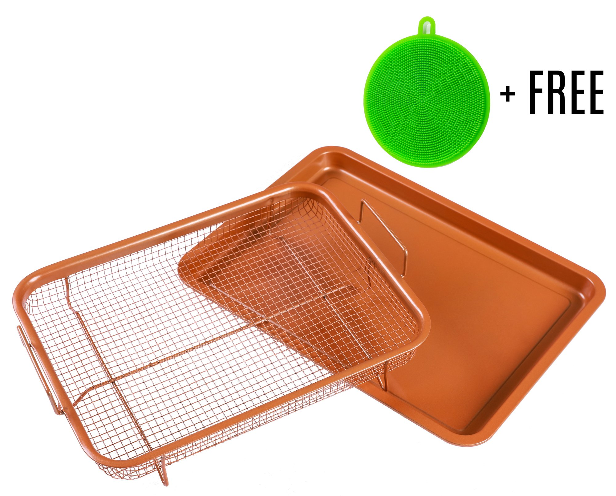 Copper Crisping Tray/Air Fryer Basket by BASICNDAILY - Chef 360° Cooking and Baking Sheet, Non-Stick Mesh Grill, Oven-Safe Square Pan + Free Silicone Dish Sponge Scrubber